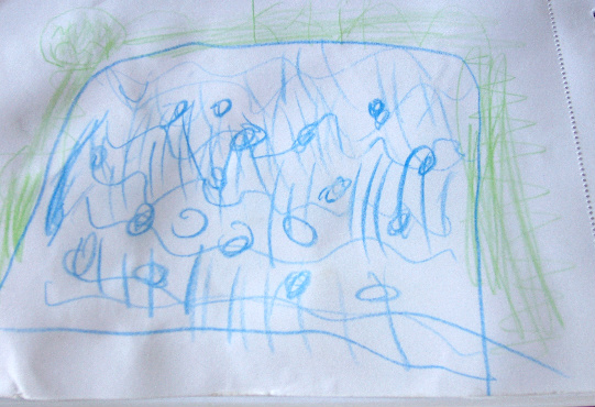 Kaia (5) drew the water with bubbles and trees in the background.